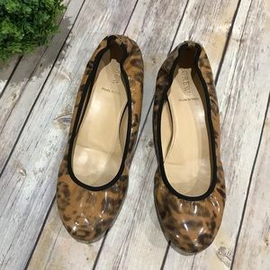 J Crew Leather Leopard Animal Print Flats Italy 9